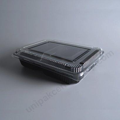 กล่องอาหาร 4 ช่อง PP ดำ (S-Bento4-02สูง)+ฝา PET