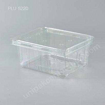กล่อง PET ใส่ผลไม้ (1000g) ฝาในตัว + เจาะรู (Fruit Container with Lid & Perforation)