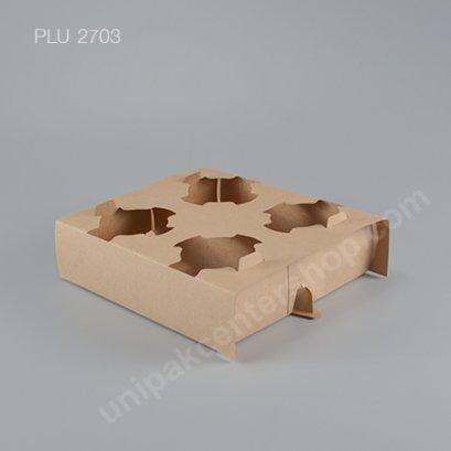 ถาดกระดาษKraftใส่ถ้วยกาแฟ4ช่อง184x184x55