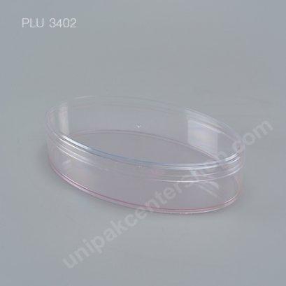 กล่องแข็งใสวงรีกลาง c-0711สีชมพูใส+ฝาใส