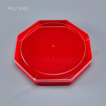 กล่องแข็งใส แปดเหลี่ยม ฐานแดง + ฝา (Octagonal Hard Plastic Case) C-0500