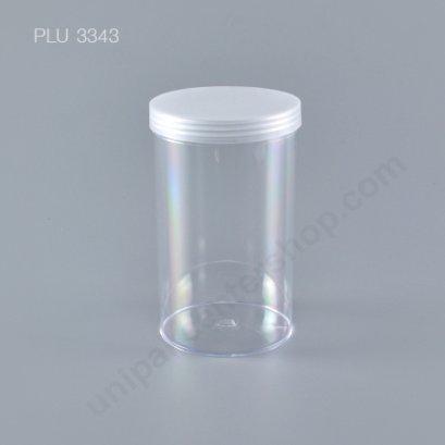 กระบอก แข็งใส 550 ml + ฝาขาว (Cylinder Hard Plastic Case) NO.0791