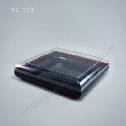 กล่องแข็งใส เหลี่ยม ฐานน้ำตาล + ฝา (Rectangular Hard Plastic Case) C-0908