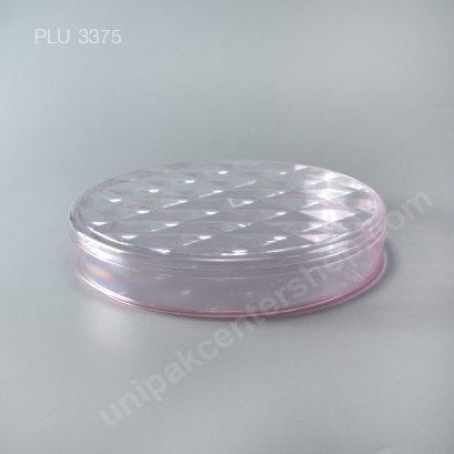 กล่องแข็งใสกลม ฐานชมพู + ฝา (Round Hard Plastic Case) C-1006