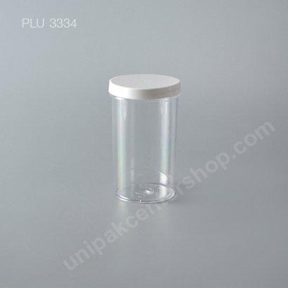 กระบอก แข็งใส 320 ml + ฝาขาว (Cylinder Hard Plastic Case) NO0774+1