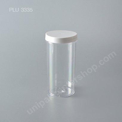 กระบอก แข็งใส 420 ml + ฝาขาว (Cylinder Hard Plastic Case) NO0775+1
