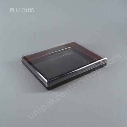 กล่องแข็งใสเหลี่ยม มุมมน ฐานน้ำตาล + ฝา (Rectangular Hard Plastic Case) C1001