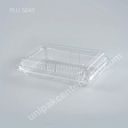 กล่องใส สี่เหลี่ยมผืนผ้า เตี้ย-L 9.7x15x4.3 (Large Flat Rectangular OPS Food Box) (TP-4HA-ตัวล็อค)