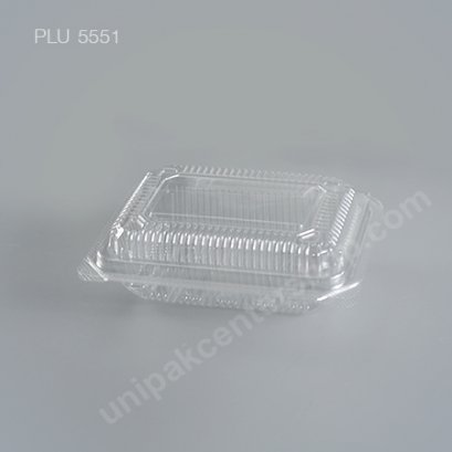 กล่องใส สี่เหลี่ยมผืนผ้า เตี้ย-M 7x11x4.5 (Medium Flat Rectangular OPS Food Box) (TP-1HA-ตัวล็อค)