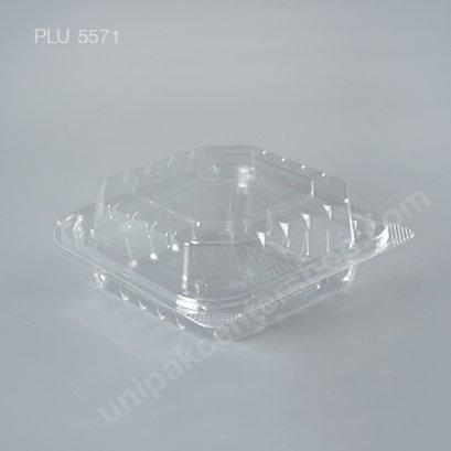 กล่องใส สี่เหลี่ยม-L - ไซส์ใหญ่ 18.5x18,5x7cm (Large Square OPS Food Box) (TP-505-ตัวล็อค)