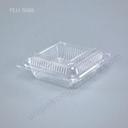 กล่องใส สี่เหลี่ยม เตี้ย-M 9.5x9.65x3.45 (Medium Flat Square Clear Food Box) (TP-30)