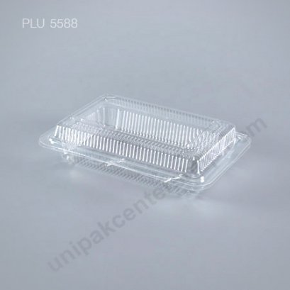 กล่องใส สี่เหลี่ยมผืนผ้า เตี้ย-L (Large Flat Rectangular OPS Food Box) (TP-2H)