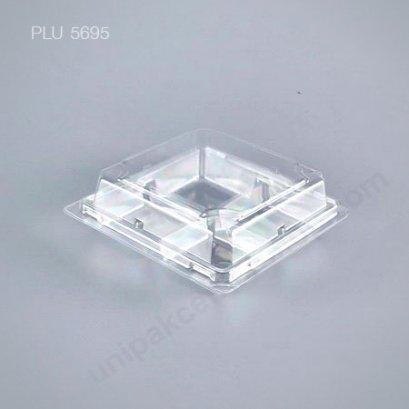 กล่องใส สี่เหลี่ยม-M - ไซส์กลาง 12.6x12.6x4.3cm (Medium Square OPS Food Box) (TL-38) พร้อมฝาใส