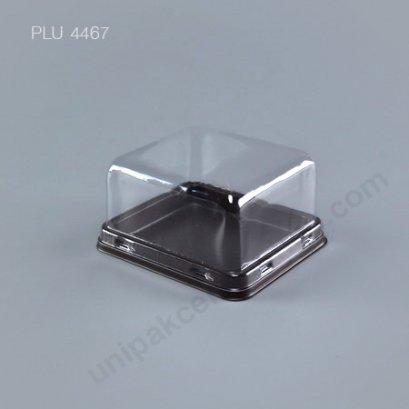 กล่องเค้ก แยมโรล ทรงเหลี่ยม ฐานน้ำตาล+ฝาใส (Rectangular Cake Roll Box) E75