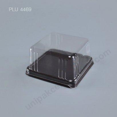 กล่องเค้ก แยมโรล ทรงเหลี่ยม ฐานน้ำตาล+ฝาใส (Rectangular Cake Roll Box) E67