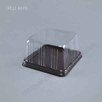 กล่องเค้ก แยมโรล ทรงเหลี่ยม ฐานน้ำตาล+ฝาใส (Rectangular Cake Roll Box) E68