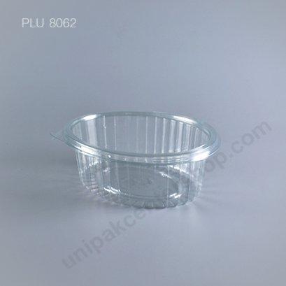 กล่องสลัด ใส วงรี + ฝาในตัว ใหญ่ PET (Big Oval Salad Box) (8H)
