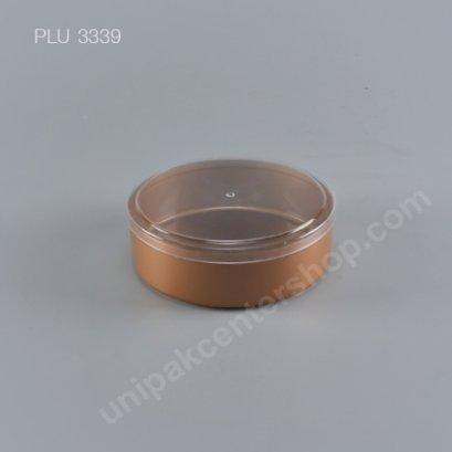 กล่องแข็งกลม NO.1358 (400ml.) สีทอง + ฝาใส