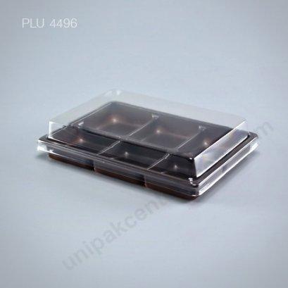 กล่องขนมเปี๊ยะ โมจิ วุ้น 6 ช่อง ฐานน้ำตาล + ฝา (Mochi Box) E82