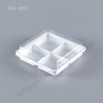 กล่องขนมเปี๊ยะ โมจิ วุ้น 4 ช่อง ฐานขาว + ฝาเตี้ย (Mochi Box) 431A