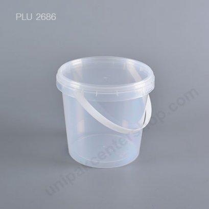 กล่อง Safety Seal กลมPP+ฝาใส + หูหิ้ว (1100ml) No.1687