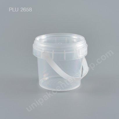 ถัง Safety Seal กลมPP+ฝานูนใส + หูหิ้ว (280ml) NO.1636