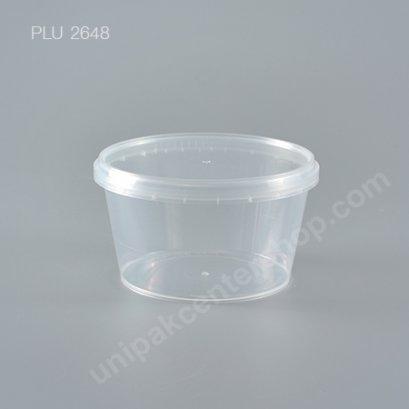 กล่อง Safety Seal ทรงแบน PP + ฝาใส (480 ml)