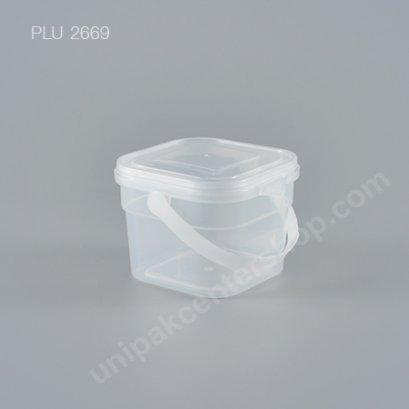 ถัง Safety Seal เหลี่ยม PP + ฝาใส + หูหิ้ว (250ml) NO.1865