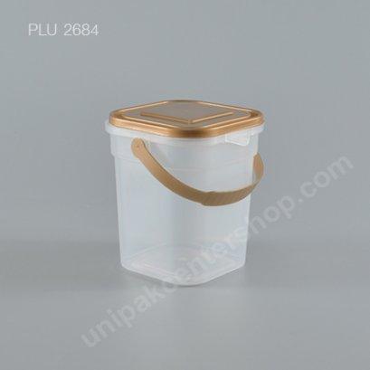 ถัง Safety Seal เหลี่ยม PP + ฝาทอง + หูหิ้ว (420ml) NO.1866