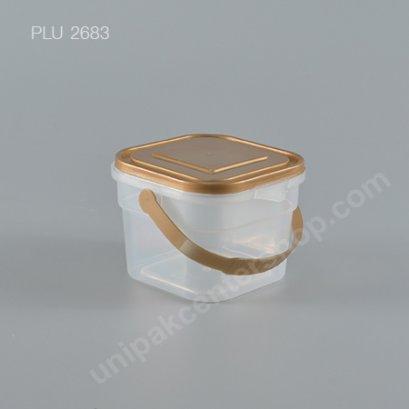 ถัง Safety Seal เหลี่ยม PP + ฝาทอง + หูหิ้ว (250ml) NO.1865