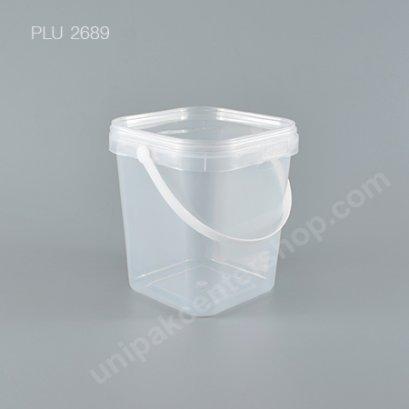 ถัง Safety Seal เหลี่ยม PP + ฝาใส + หูหิ้ว (1800ml) NO.1870