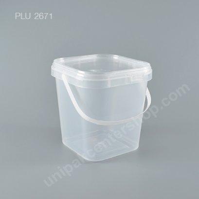 ถัง Safety Seal เหลี่ยม PP + ฝาใส + หูหิ้ว (3000ml) NO.1871
