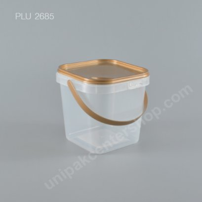 ถัง Safety Seal เหลี่ยม PP + ฝาทอง + หูหิ้ว (1100ml) NO.1869