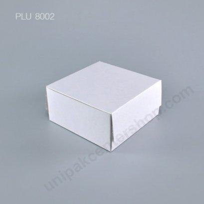 กล่องเค้ก กระดาษ 15x15x7.5cm สีขาว (0.5 ปอนด์)