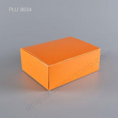 กล่องเค้ก กระดาษ 12x16x6cm สีส้ม