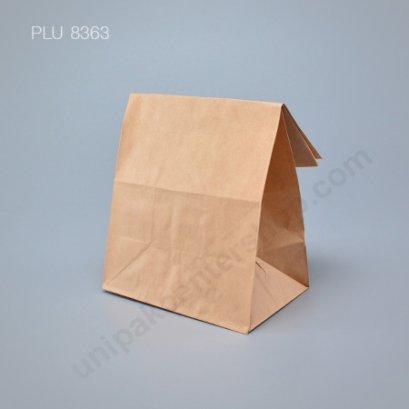 ถุงกระดาษพับข้างมีก้น สีน้ำตาล ขนาด 13 x 8 x 22 cm