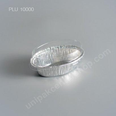 ถาดฟอยล์ วงรี-S - ไซส์เล็ก 6.3x4x4.3cm Silver (Small Oval Foil Tray) (SS) No.6003 + ฝา