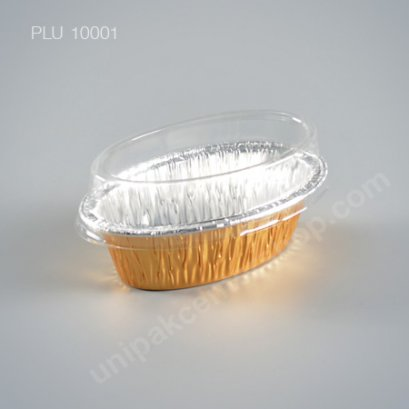 ถาดฟอยล์ วงรี-S - ไซส์เล็ก 6.3x4x4.3cm Gold (Small Oval Foil Tray) (SS) No.6003