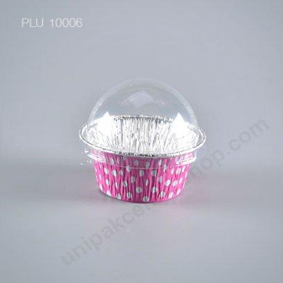 ถาดฟอยล์ คัพเค้ก + ฝาโดม ลาย Pink Polkadots (Small Round Foil Tray) SS No.3003