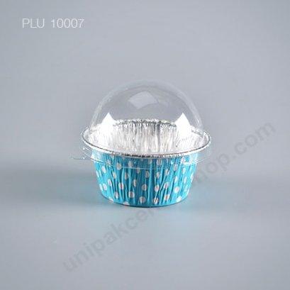 ถาดฟอยล์ คัพเค้ก + ฝาโดม ลาย Blue Polkadots (Small Round Foil Tray) SS No.3003