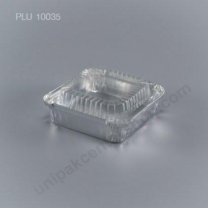 ถาดฟอยล์ สี่เหลี่ยม-M - ไซส์กลาง 10x10x3cm Silver (Medium Square Foil Tray) (SS) 4009