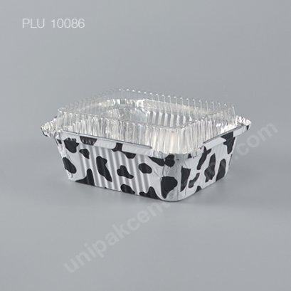 ถาดฟอยล์ ลายวัว 4006 +ฝา (Cow Print Foil Tray)