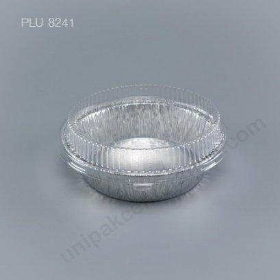 ถาดฟอยล์ กลม-M - ไซส์กลาง 14x11x5.7cm Silver + ฝา (Medium Round Foil Tray) NO.3381