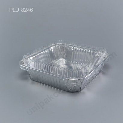 ถาดฟอยล์ สี่เหลี่ยม-L - ไซส์ใหญ่ 16.5x16.5x6.5cm Silver + ฝา (Large Square Foil Tray) NO.4483