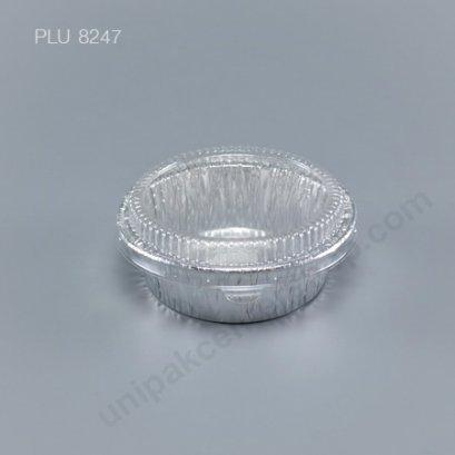 ถาดฟอยล์ กลม-M - ไซส์กลาง 4.5x11x8.5cm Silver + ฝา (Medium Round Foil Tray) NO.3387