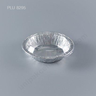 ถาดฟอยล์ กลม-M - ไซส์กลาง 12x8cm Silver + ฝา (Medium Round Foil Tray) NO.3207