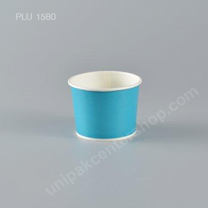 ถ้วยไอศกรีมกระดาษ 4 oz. สีฟ้า (Paper Ice Cream Cup - Sky Blue)