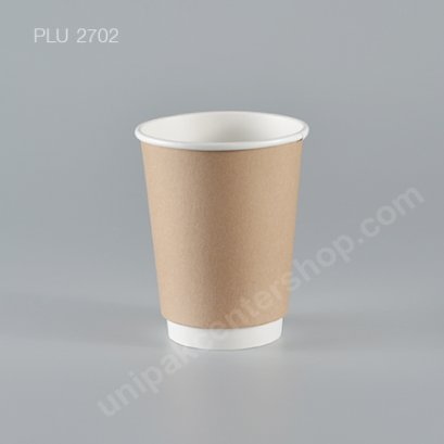 ถ้วยกระดาษ 12 ออนซ์ (DW) ถ้วยในขาว + ปลอกกระดาษคราฟ