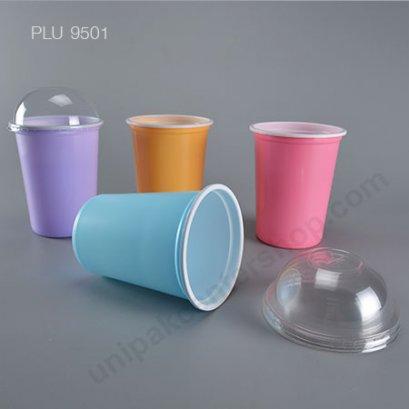 ถ้วยน้ำดื่ม PP 115-10 ความจุ 1,000 ml (ม่วง,ชมพู,ส้ม,ฟ้า) + ฝาโดมเจาะ PET