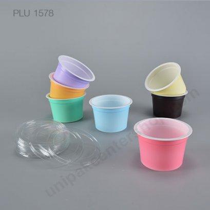 ถ้วย PP # 75-100 สีชมพู ม่วง ส้ม เหลือง เขียว ฟ้า น้ำตาล + ฝาเรียบ PET   (PP CUP + LID)